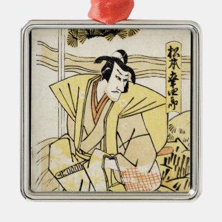 Cool japanese vintage ukiyo-e samurai tattoo Silver-Colored square decoration