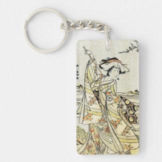 Cool japanese vintage ukiyo-e scroll geisha Double-Sided rectangular acrylic key ring