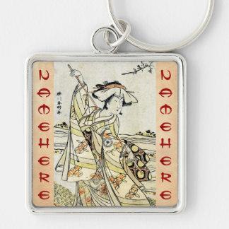 Cool japanese vintage ukiyo-e scroll geisha Silver-Colored square key ring
