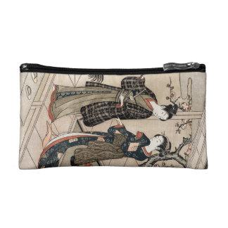 Cool japanese vintage ukiyo-e scroll two geisha makeup bags