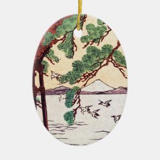 Cool japanese vintage ukiyo-e sea tree birds scene ceramic oval decoration