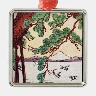 Cool japanese vintage ukiyo-e sea tree birds scene Silver-Colored square decoration