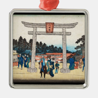 Cool japanese vintage ukiyo-e tori gate village christmas ornament