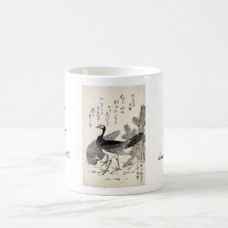 Cool japanese vintage ukiyo-e trio birds ink art basic white mug