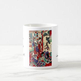 Cool japanese vintage ukiyo-e trio geisha scroll classic white coffee mug