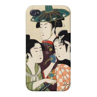 Cool japanese vintage ukiyo-e trio lady geisha art cover for iPhone 4