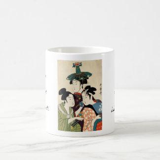 Cool japanese vintage ukiyo-e trio lady geisha art classic white coffee mug