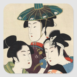 Cool japanese vintage ukiyo-e trio lady geisha art square sticker