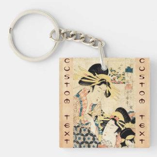 Cool japanese vintage ukiyo-e two geisha lady Double-Sided square acrylic key ring