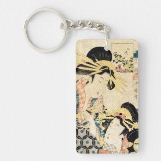Cool japanese vintage ukiyo-e two geisha lady Double-Sided rectangular acrylic key ring