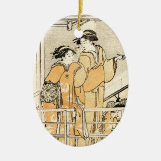 Cool japanese vintage ukiyo-e two geishas scroll christmas ornament