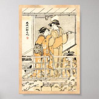 Cool japanese vintage ukiyo-e two geishas scroll poster