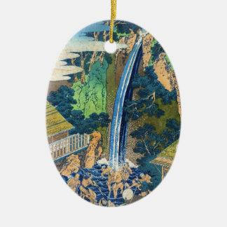Cool japanese vintage ukiyo-e waterfall Hokusai Double-Sided Oval Ceramic Christmas Ornament