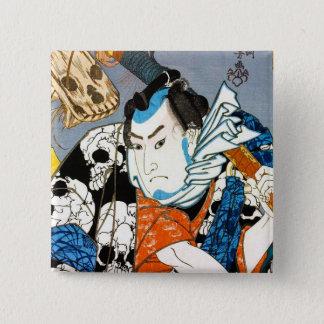 Cool japanese warrior hero samurai skull art 15 cm square badge