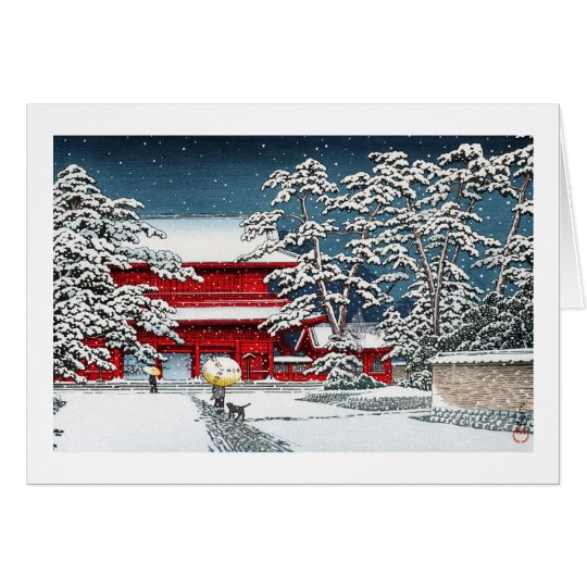 Cool japanese winter temple shrine kyoto scenery card