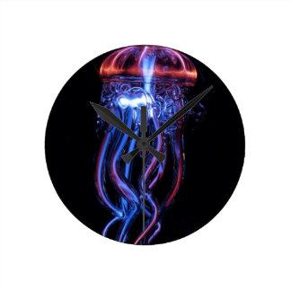 Cool Jellyfish Luminous Light Phenomeno Round Clock