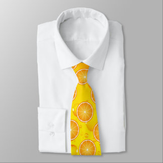 Cool Juicy Orange fruit slices pattern water drops Tie