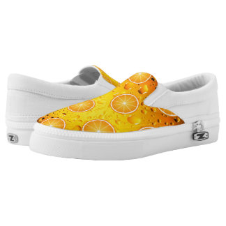 Cool Juicy Orange slices pattern on Water drops Slip On Shoes