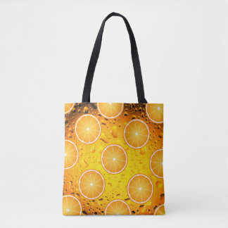 Cool Juicy Orange slices pattern on Water drops Tote Bag
