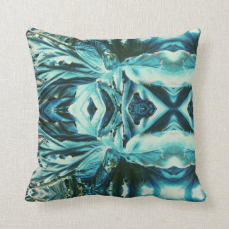Cool Kaleidoscope Effect Green Plant Throw Pillow