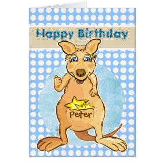 Cool kangaroo - blue bubbles card