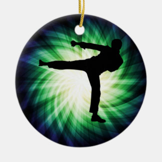 Cool Karate Kick Christmas Ornament