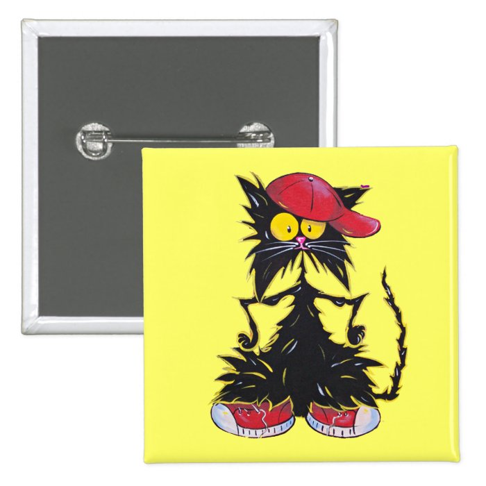 Cool Kat Hip Hop 15 Cm Square Badge