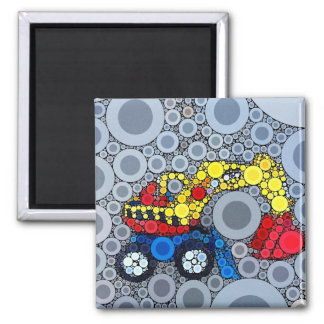 Cool Kids Construction Truck Excavator Digger Square Magnet