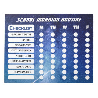 Cool Kids Space Daily Routine Checklist Notepad