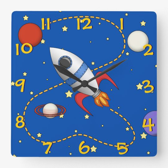 Cool Kids Spaceship in Orbit Cartoon Square Wall