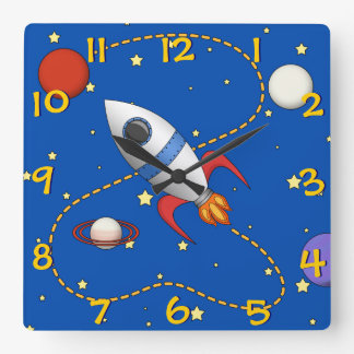 Cool Kids Spaceship in Orbit Cartoon Wall Clock