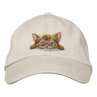Cool Kitten Embroidered Hat