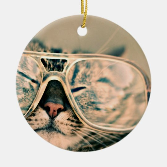 Cool Kitty in Oversized Glasses Christmas Ornament