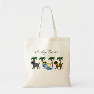 Cool Labradors Beach Party Cartoon Tote Bag