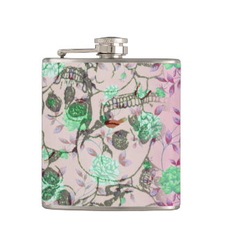 Cool Lady Grunge Skulls and Teal & Pink Floral Hip Flask