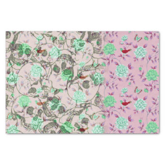 Cool Lady Grunge Skulls and Teal & Pink Floral Tissue Paper