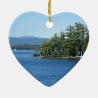 Cool Lake Island Shot Ceramic Heart Decoration