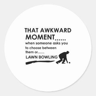 Cool lawn bowl  designs classic round sticker