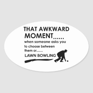 Cool lawn bowl  designs oval sticker