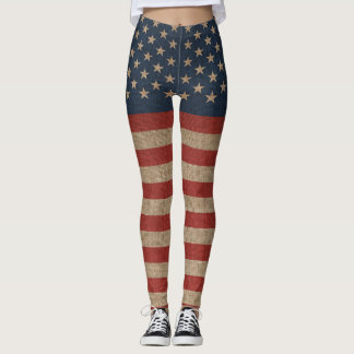 Cool leggings with canvas flag of USA