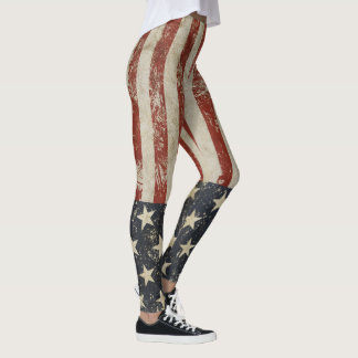 Cool leggings with vintage flag of USA