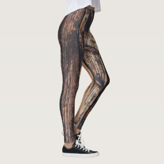 Cool leggings with wooden vintage pattern