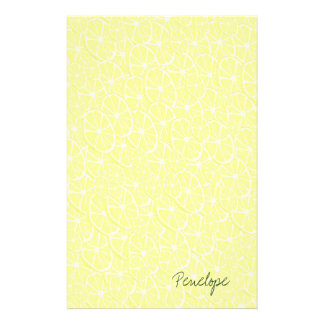 Cool Lemon Slices Pattern Signature Add Your Name Stationery