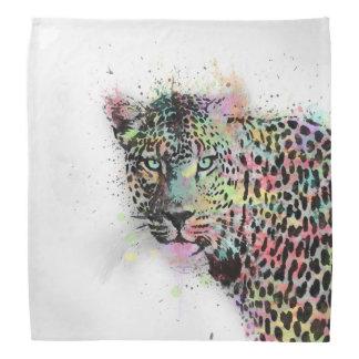 Cool leopard animal watercolor splatters paint bandana