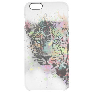 Cool leopard animal watercolor splatters paint clear iPhone 6 plus case