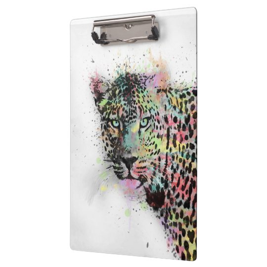 Cool leopard animal watercolor splatters paint clipboards