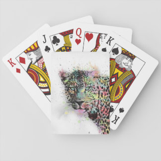 Cool leopard animal watercolor splatters paint poker deck