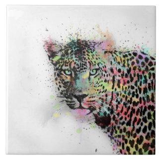 Cool leopard animal watercolor splatters paint tile