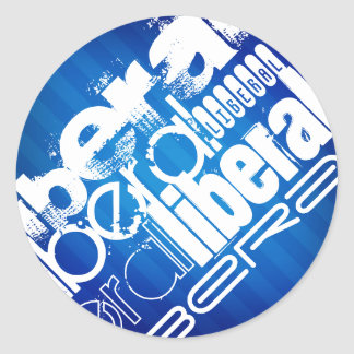 Cool Liberal; Royal Blue Stripes Classic Round Sticker