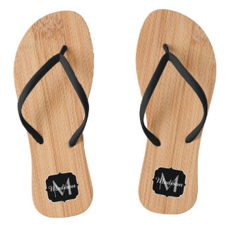 Cool light brown bamboo wood print Monogram Flip Flops
